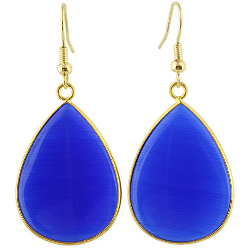 (SUNYIK Women's Blue Cat's Eye Stone Teardrop Hook Dangle Earrings )