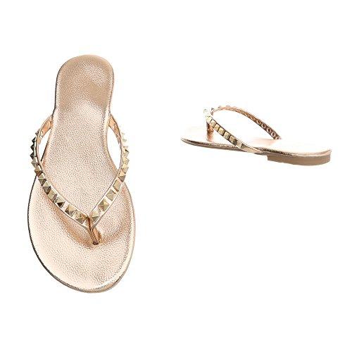 Ital-Design - Sandalias de Material Sintético para mujer Gold Pink 8099