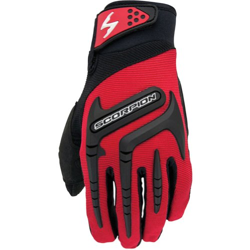 (Scorpion Skrub Men's Textile Street Bike Racing Motorcycle Gloves - Red/Large)