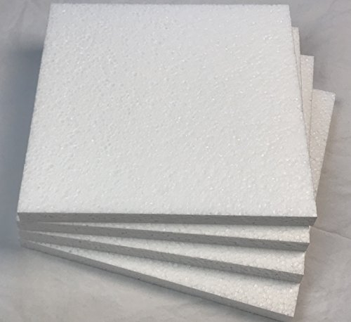 Styrofoam Sheets (8 inches X 8 inches X 1/2 inch) EPS Foam Sheets (Lot of 4)