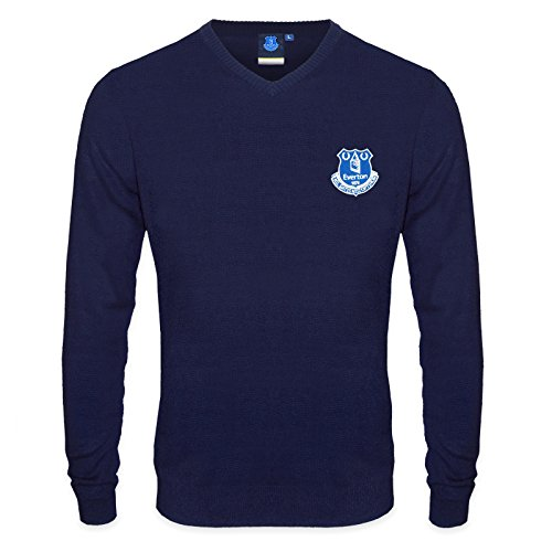 Everton Christmas Sweater - Everton FC Official Soccer Gift Mens Crest Knitted Jumper Navy XL