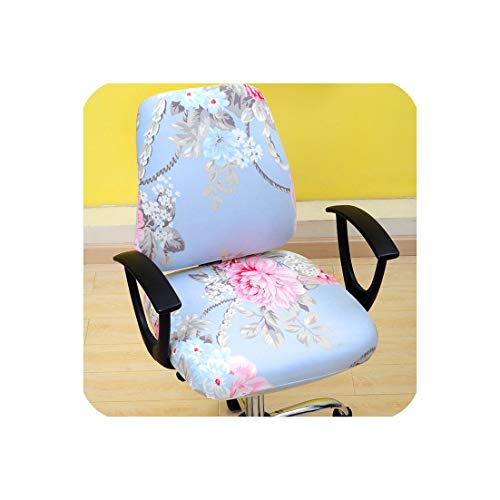 Modern 2pcs/Set Elastic Office Computer Chair Cover Armchair Back Seat Cover Stretch Rotating Lift Seat Case Cover Without Chair,guosetianxiang,Universal ()