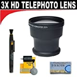 3x Digital Telephoto Professional Series Lens + 5 Pc Cleaning Kit + DB ROTH Micro Fiber ClothFor The JVC Everio GZ-MC100, MC200, MC500 Microdrive Camcorders