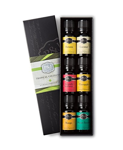 Banana Coconut Oil (Tropical Set of 6 Premium Grade Fragrance Oils - Banana, Coconut, Awapuhi and Seaberry, Pineapple, Mango, Ocean Breeze - 10ml)