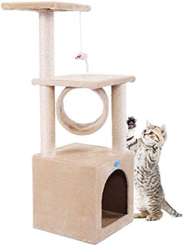 COZIWOW Cat Tower Cat Tree Condo – Scratching Post Pad Kitten 3-Level House Pet Furniture Kitten Activity Tower Kitty Play House,Dark Grey Beige, 36 H