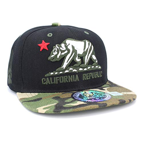 LAFSQ Embroidered California Republic with Bear Claw Scratch Snapback Cap (Black/RED/CAMO)