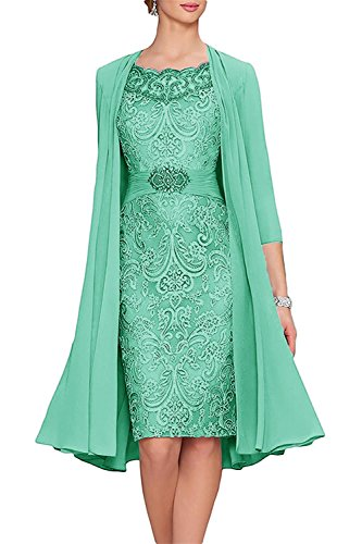 APXPF Women's Tea Length Mother of The Bride Dresses Two Pieces with Jacket Aqua - Piece Mother The Bride Of Two Dresses