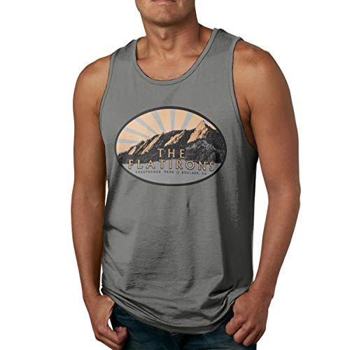YUYU Limited Edition Men The Flatirons, Chautauqua Park, Boulder Colorado Sport Tank Tops Deep Heather - Iron Ghb Flat