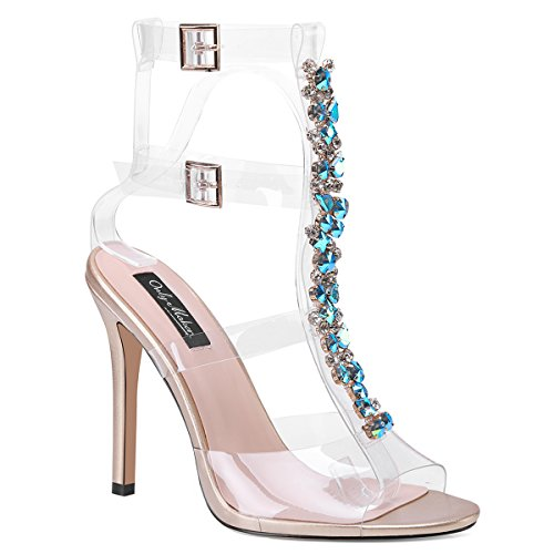 Sandals Stiletto Womens Heels Clear High With Strap Block Rhinestones Onlymaker Transparent Gladiator Ankle Blue Gem xI0zYR