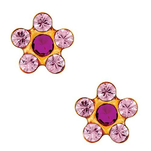 Crystal Daisy Piercing Earrings - Studex Tiny Tips Light Rose and Fuchsia Crystal 5mm Daisy Gold Plated Childrens Hypo-allergenic Stud Earrings