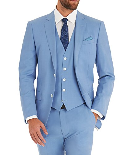 AMORSTORE Mens Fitted Three Piece Suits Light Blue