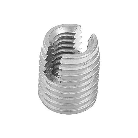 Inserto de reparaci/ón de rosca Inserto de rosca de rosca de tornillo ranurado autorroscante SUS303 de acero inoxidable 20pcs M3 x 6 mm