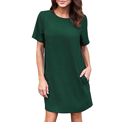 7a4e9e38fd7 Women Dress Short Sleeve Casual Solid Color Loose Midi Dress with Pocket  Knee Length (M