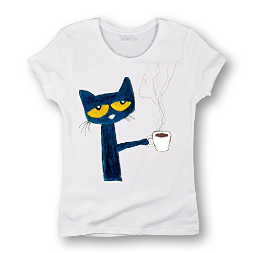 Pete the Cat Officially Licensed Book Character Morning Coffee Ladies T-Shirt 41PAw6GVQ L