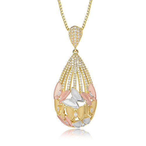 (Mytys Butterfly Pendant Necklace Tri Tune Gold Necklace Luxury Jewelry Gift for Women Girl)