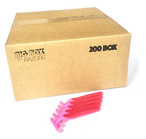 200 Box of Quality Pink Bulk Wholesale Disposable Twin Blade Razors for Women by Big Box of Razors