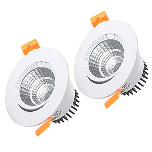 uxcell 2 Pcs 90mm Dia. 5W COB Downlight Housing Recessed Ceiling Light Lamp Shell White