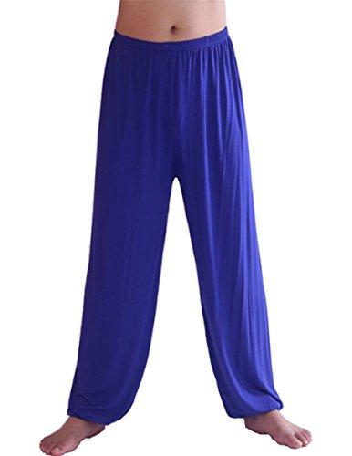 Blue Genie Art - HOEREV Men's Super Soft Modal Spandex Harem Yoga/ Pilates Pants,Royalblue,Large