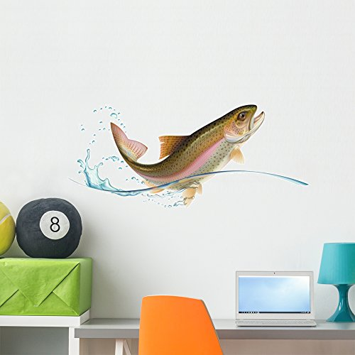 Wallmonkeys Jumping Trout Peel and Stick Wall Decals WM26...
