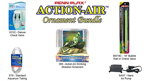 - Penn Plax Action-Air Ornament Bundle Gift Set - Comes with Air Pump, Tubing, Bubble Wall, Gang Valve, and Action Ornament for Your Aquarium (Rum Drinkin' Skeleton)