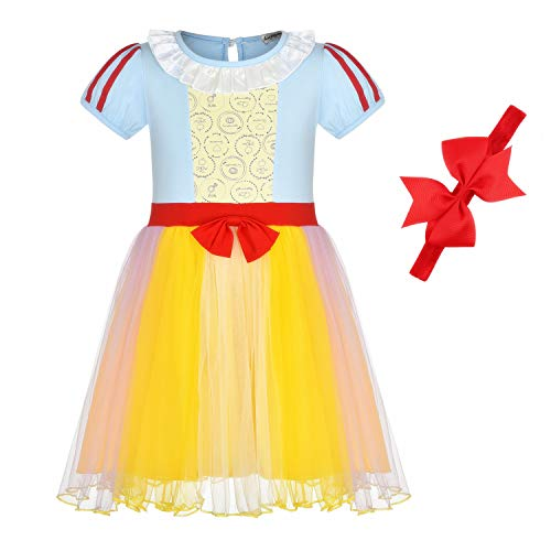 BanKids Princess Dresses Snow White Dress Up Snow White Costumes for Toddler Girls 5T 6T(130CM,SnowWhiteD)