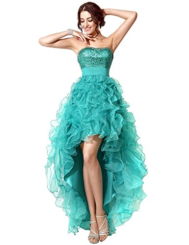 Sarahbridal Women's Tulle Hi-Lo Beading Prom Dress Evening Homecoming Gown Peacock US6