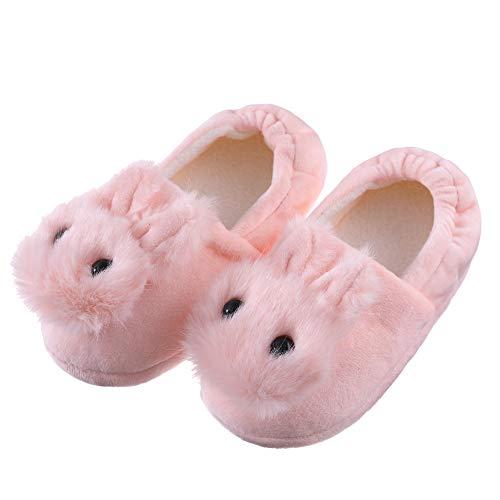 FANZERO Toddler Girls Rabbit Slippers Soft Plush Warm Cute Animal Non-Slip Winter House Shoes (5-6 M US Toddler, -