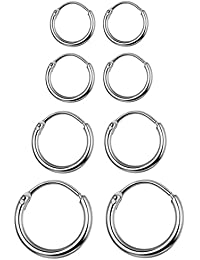4 Pairs Stainless Steel Basic Small Large Endless Hoop Earrings Silver Golden Rose Tone Hoop Earrings 10-20MM