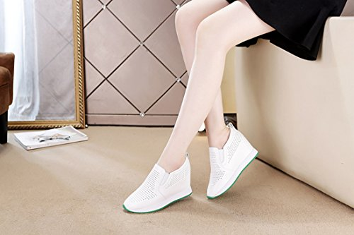 Spring Toe Autumn and Pores Heel Breathable Top heels Shoes Low Pointed wedges DANDANJIE White Hidden Women Loafers qZWxzO1