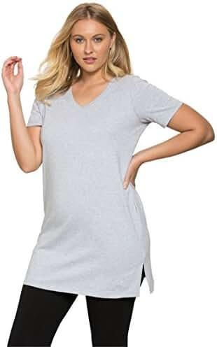 Roamans Women's Plus Size V-Neck Max Tunic Heather Grey,6X