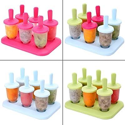 Silicone Pop Mold, Non-Stick Ice Pop Maker, Ice Pop Molds Ice Lolly Cream Maker Pop Cake Mold Popsicle Yogurt Icebox Fridge Frozen Treats Freezer 6 Cells Mould, Blue: Toys & Games