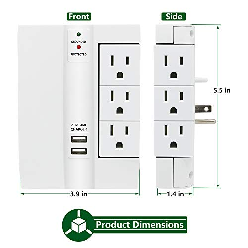 Wall Surge Protector, Lovin Product Multi Plug Outlet Wall Tap Power Strip with 2 USB Ports, 6 Protected Outlets (3 Swivel Outlets), Grounded Indicator, ETL Certified Wall Mount Socket – White by LOVIN PRODUCT (Image #3)