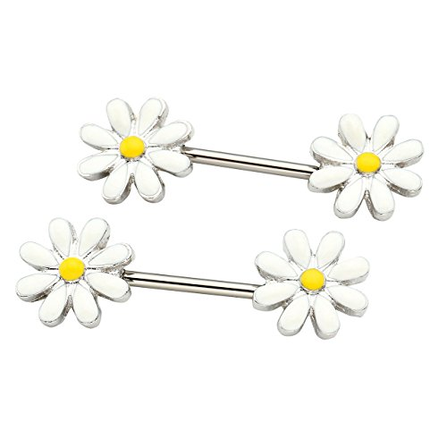 Jovivi Womens Girls Surgical Steel Nipple Rings Bar Barbell Silver Body Piercing Jewelry 14G,Unique Daisy Flower Design