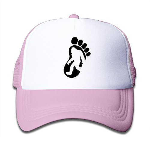 (Kid's I Believe In Bigfoot Footprint Trucker Hat Pink)