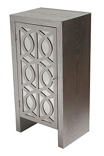 Heather Ann Creations The Ellington Collection Modern Style Wooden Mirrored Single Door Bedroom Accent Storage Cabinet, Silver