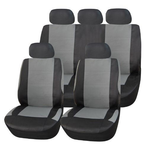 Adeco 9-Piece Leatherette Car Vehicle Protective Seat Covers, Universal Fit, Black/Gray, Airbag Compatible (Minivan Bucket Seat Covers compare prices)