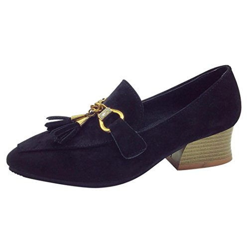 Fheaven Womens Pointed Toe Tassel Casual Loafers Shoes Flock Fringe Low Square Heel Ankle Shoes Black Unawrm2xf