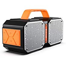 Bluetooth Speakers, Waterproof Outdoor Speakers Bluetooth 5.0, 40W Wireless Stereo Pairing Booming Bass Speaker,2400 Minutes Playtime with 8000mAh Power Bank, Home Party, Camping(Black) (Renewed)