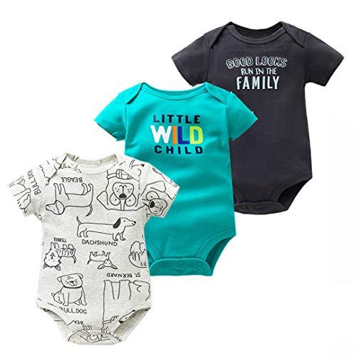 BHDSLAO 3PCS/LOT Baby Boys Girls Summer Clothes 100% Cotton Baby Bodysuit Short Sleeve Newborn Baby P 24M