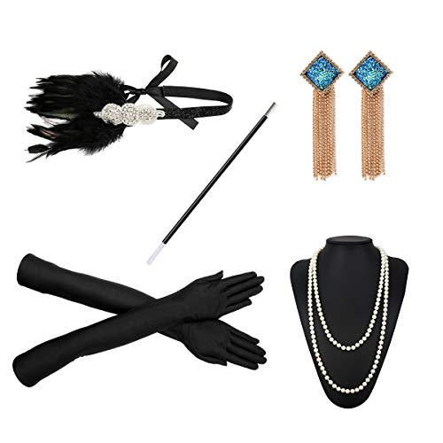 1920s Flapper Costume Accessories Set 20s Gatsby Pearl Necklace Headband Gloves Cigarette Holder Earrings (X09) ()