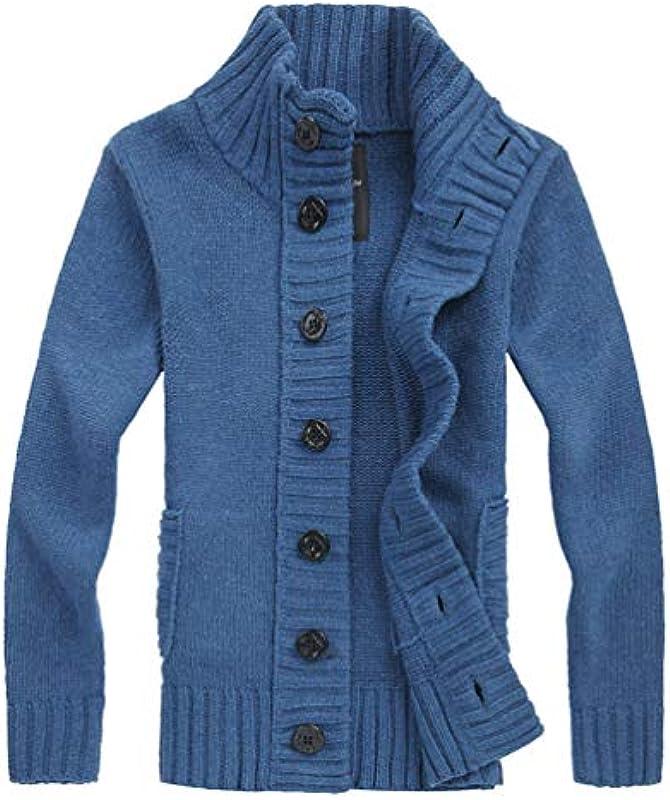 JEELINBORE męska ciepła kurtka z dzianiny Cardigan gruba dzianina ze stÓjką listwa guzikowa jednokolorowa jesień kurtka zimowa płaszcz: Odzież