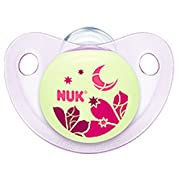 NUK Night and Day Baby Pacifier 6-18 m Silicone Girl Glows in the Dark Red Moon 8295-3