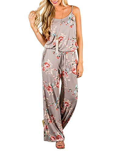 Xuan2Xuan3 Women Sexy Sleeveless Spaghetti Strap Waist Tie Floral Print Wide Leg Long Pant Casual Loose Jumpsuit Romper Khaki Large