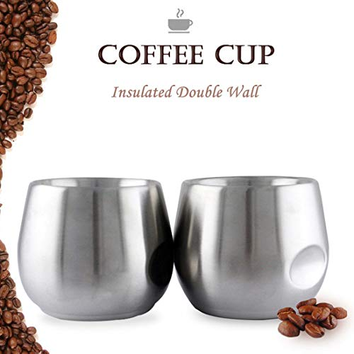 Coffee Cup Set Stainless Steel Vacuum Insulated Double Wall Coffee Cups, 7 oz(2 pack)