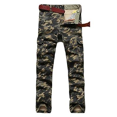 Hot Pandapang Mens Camouflage Multi Pocket Straight Leg Mid Waist Cargo Pant