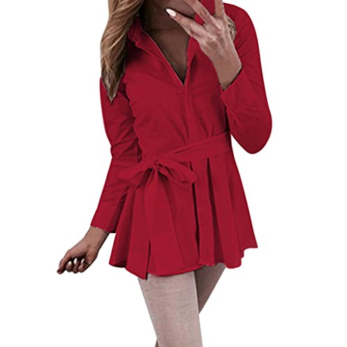 (NEARTIME Promotion❤️Women Loose Tops, 2018 Hot Sale Turn Down Collar Button Belt Blouse Solid Color Long Sleeve T-Shirt)