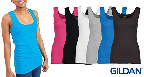 3-Pack Gildan Women's Tank Tops, 100% Cotton Ribbed Ladies Layering Gym Tank Top Shirts