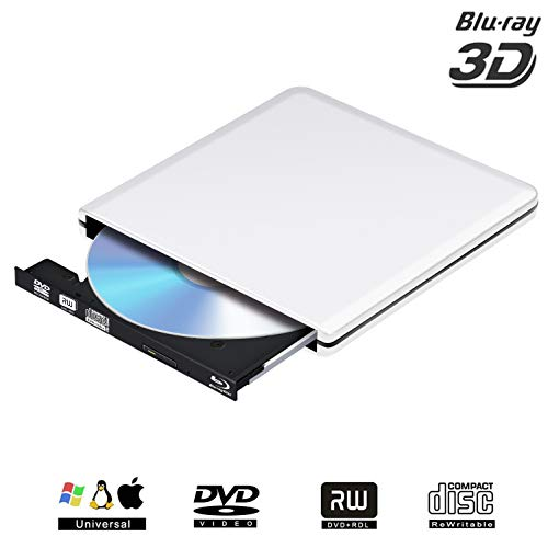 PiAEK External Blu Ray Drive USB 3.0 3D 4K,Bluray DVD CD Drive Opitical Disc Burner Player Compatible for Mac/PC/MacBook Pro Air Windows10/7/8