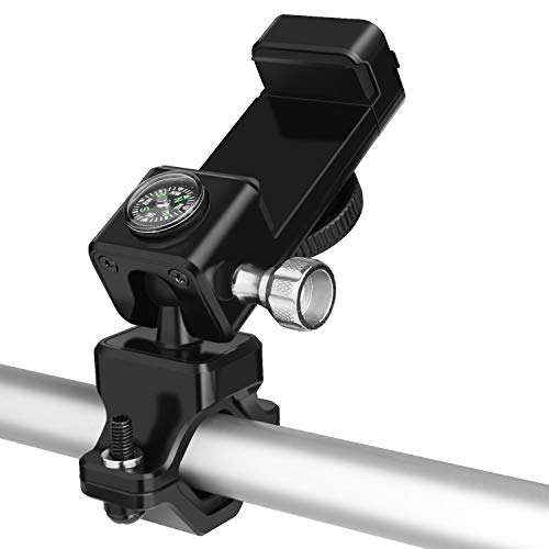 Tsuinz Bike Phone Mount with Led Light and Compass, Universal Bike Bicycle Motorcycle Phone Holder for Handlebars Compatible with iPhone Xs MAX XR X 8, Samsung Galaxy S10+ S10 S10e S9 S8 (Black)