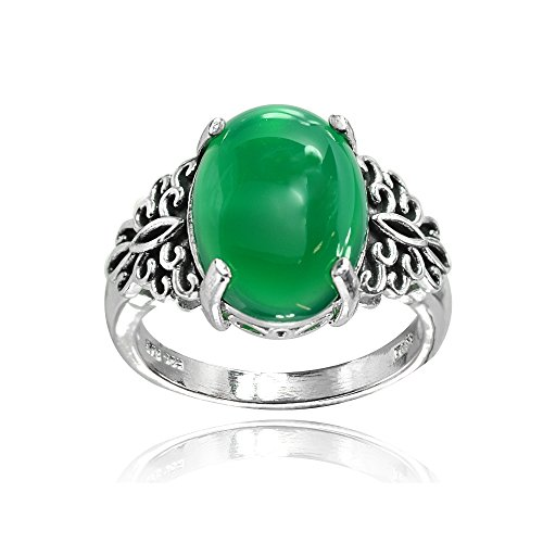 - Sterling Silver Simulated Green Jade Oxidized Bali Inspired Filigree Oval Ring, Size 8